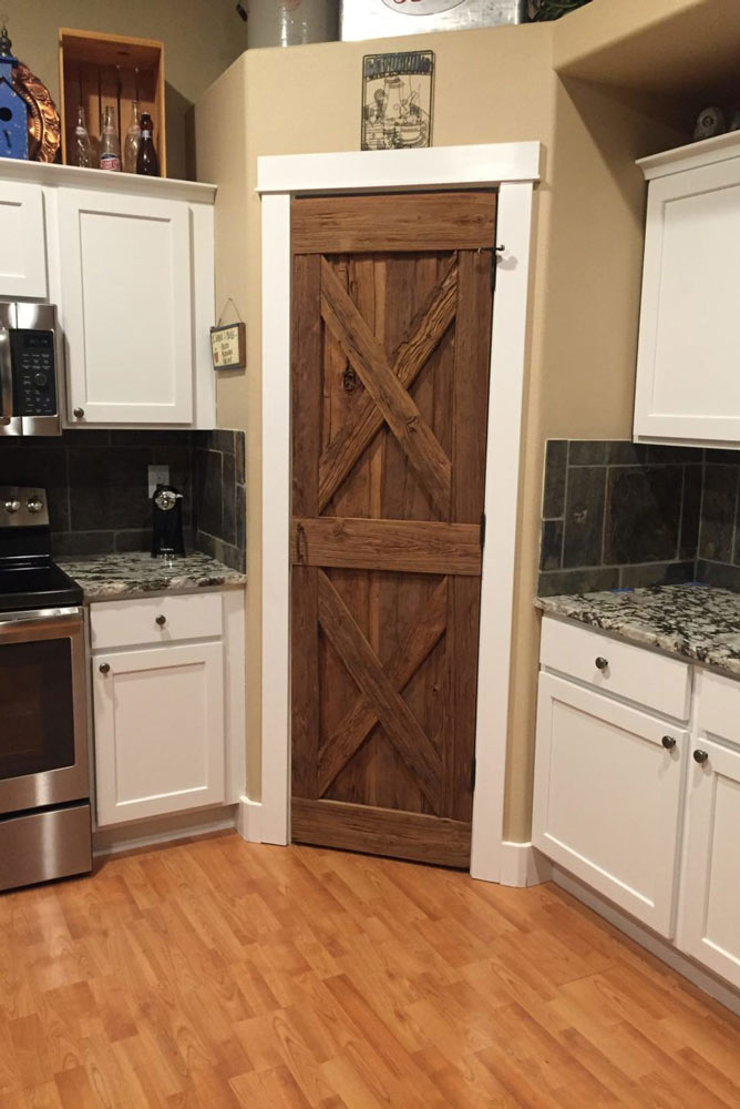 barn door on kitchen pantry